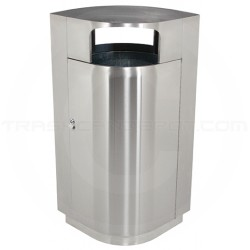 "Commercial Zone 782129 Leafview Series Side Entry Waste Receptacle - 40 Gallon Capacity - 27 1/2"" L x 18"" W x 45"" H - Stainless Steel"