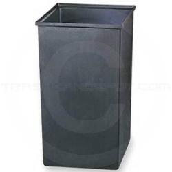 """Safco 9669 Square Rigid Plastic Liner - 36 Gallon Capacity - 17"""" Sq. x 27 1/2"""" H - Black in Color"""