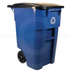 Rubbermaid FG9W2773BLUE BRUTE Recycling Rollout Container with Lid - 50 Gallon Capacity - Blue in Color