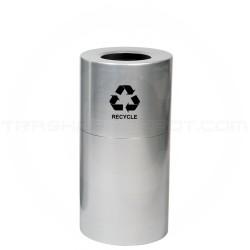 """Witt Industries AL18-CLR-R Stadium Series Aluminum Open Top Recycling Container - 24 Gallon Capacity - 15"""" Dia. x 30 1/2"""" H - Satin Aluminum"""