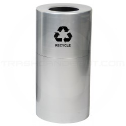 "Witt Industries AL35-CLR-R Stadium Series Aluminum Open Top Recycling Can - 35 Gallon Capacity - 18"" Dia. x 32 1/4"" H - Satin Aluminum"