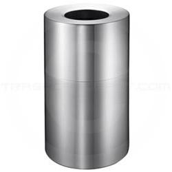 Imprezza ALMO35 Aluminum Open Top Waste Can - 35 Gallon Capacity - Satin Aluminum