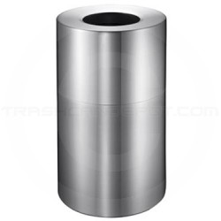 Imprezza ALMO45 Aluminum Open Top Trash Container - 45 Gallon Capacity - Satin Aluminum