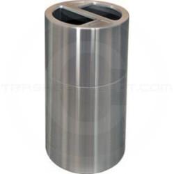 Imprezza ALMOR35 Aluminum Open Top Dual Stream Recycling Container - 30 Gallon Capacity - Satin Aluminum