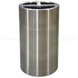 Imprezza ALMOR40T Aluminum Open Top Triple Stream Recycling Container - 38 Gallon Capacity - Satin Aluminum