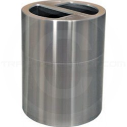 Imprezza ALMOR60 Aluminum Open Top Dual Stream Recycling Container - 56 Gallon Capacity - Satin Aluminum