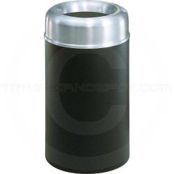 "Rubbermaid FGAOT30SABKPL Crowne Collecton Small Open Top Trash Receptacle - 30 Gallon Capacity - 20"" Dia. x 34 1/2"" H - Black Textured Body with Satin Aluminum Top"