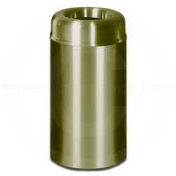 "Rubbermaid AOT30SB Crowne Collecton Small Open Top Trash Receptacle - 30 Gallon Capacity - 20"" Dia. x 34 1/2"" H - Satin Brass"