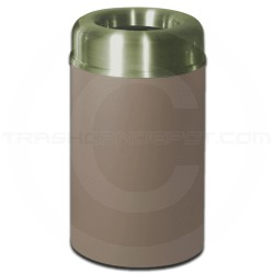 "Rubbermaid FGAOT30SBBRPL Crowne Collecton Small Open Top Trash Receptacle - 30 Gallon Capacity - 20"" Dia. x 34 1/2"" H - Brown Textured Body with Satin Brass Top"