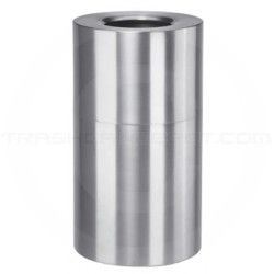 "Rubbermaid AOT35SA Open Top Waste Receptacle - 35 Gallon Capacity - 18"" Dia. x 32"" H - Satin Aluminum"