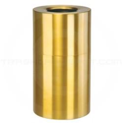 "Rubbermaid AOT35SB Open Top Waste Receptacle - 35 Gallon Capacity - 18"" Dia. x 32"" H - Satin Brass"