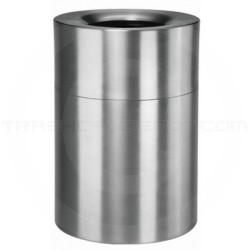 "Rubbermaid AOT62SA Open Top Trash Can - 62 Gallon Capacity - 24"" Dia. x 35"" H - Satin Aluminum"