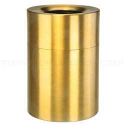 "Rubbermaid AOT62SB Open Top Trash Can - 62 Gallon Capacity - 24"" Dia. x 35"" H - Satin Brass"