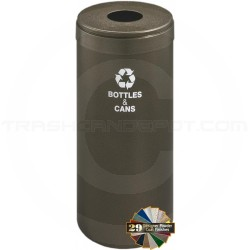 "Glaro B1242BV RecyclePro Single Unit Recycling Can with Round Opening - 15 Gallon Capacity - 12"" Dia. x 30"" H - Bronze Vein in Color"