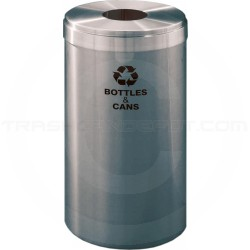 "Glaro B1542SA RecyclePro Single Unit Recycling Bin with Round Hole - 23 Gallon Capacity - 15"" Dia. x 30"" H - Satin Aluminum"