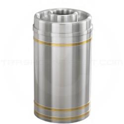 "Glaro D1534SA Capri WasteMaster Donut Top Ash/Trash Receptacle - 16 Gallon Capacity - 15"" Dia. x 34"" H - Satin Aluminum with Satin Brass Bands"