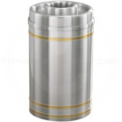 "Glaro D2034SA Capri WasteMaster Donut Top Ash/Trash Receptacle - 33 Gallon Capacity - 20"" Dia. x 36"" H - Satin Aluminum with Satin Brass Bands"