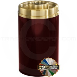 "Glaro D2041 Mount Everest Donut Top Ash/Trash Can - 33 Gallon Capacity - 20"" Dia. x 35"" H - Satin Brass Cover"
