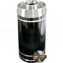 "Glaro D2056 Monte Carlo WasteMaster Donut Top Ash/Trash Receptacle - 33 Gallon Capacity - 20"" Dia. x 36"" H - Satin Aluminum Accents"