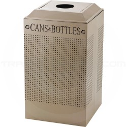 Rubbermaid FGDCR24CDP Silhouette Recycling Receptacle - Cans and Bottles - 29 Gallon Capacity - Desert Pearl in Color