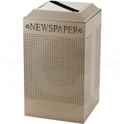 Rubbermaid FGDCR24PDP Silhouette Recycling Receptacle - Newspaper - 29 Gallon Capacity - Desert Pearl