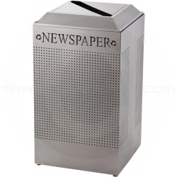 Rubbermaid FGDCR24PSM Silhouette Recycling Receptacle - Newspaper - 29 Gallon Capacity - Silver Metallic
