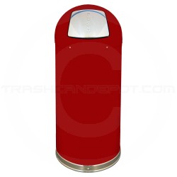 "Imprezza DT15REDGL Dome Top Bullet Trash Can - 15 Gallon Capacity - 15 3/8"" Dia. x 34 1/2"" H - Red in Color"