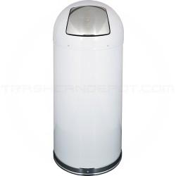 "Imprezza DT15WHIGL Dome Top Bullet Trash Can - 15 Gallon Capacity - 15 3/8"" Dia. x 34 1/2"" H - White in Color"