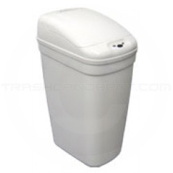 """Nine Stars DZT-20-1W Infrared Touchless Waste Receptacle - 5.2 Gallon Capacity - 14 3/5"""" L x 10 2/5"""" W x 20 1/3"""" H - White in Color"""