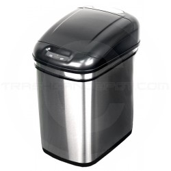 """Nine Stars DZT-24-1 Infrared Touchless Waste Receptacle - 6.3 Gallon Capacity - 14 3/5"""" L x 10 2/5"""" W x 17 9/10"""" H - Stainless Steel with Black Top"""