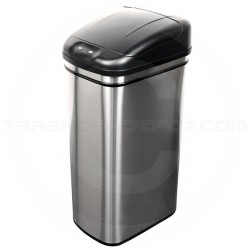 """Nine Stars DZT-42-1 Infrared Touchless Waste Receptacle - 11.1 Gallon Capacity - 14 3/5"""" L x 10 2/5"""" W x 27"""" H - Stainless Steel with Black Top"""