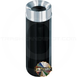 "Glaro F1232 Mount Everest Funnel Top Trash Container - 12 Gallon Capacity - 12"" Dia. x 32"" H - Satin Aluminum Cover"
