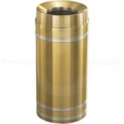 "Glaro F1234BE Capri WasteMaster Funnel Top Trash Can - 12 Gallon Capacity - 12"" Dia. x 32"" H - Satin Brass with Satin Aluminum Bands"