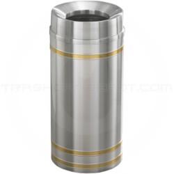 "Glaro F1234SA Capri WasteMaster Funnel Top Trash Can - 12 Gallon Capacity - 12"" Dia. x 32"" H - Satin Aluminum with Satin Brass Bands"