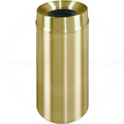 "Glaro F1533BE Atlantis WasteMaster Funnel Top Waste Container - 16 Gallon Capacity - 15"" Dia. x 33"" H - All-Weather Satin Brass"