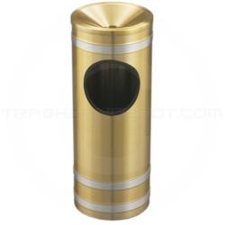 "Glaro F194BE Capri WasteMaster Ash/Trash Receptacle with Funnel Top - 3 Gallon Capacity - 9"" Dia. x 23"" H - Satin Brass with Satin Aluminum Bands"