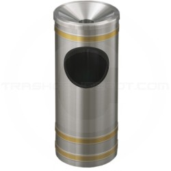 "Glaro F194SA Capri WasteMaster Ash/Trash Receptacle with Funnel Top - 3 Gallon Capacity - 9"" Dia. x 23"" H - Satin Aluminum with Satin Brass Bands"