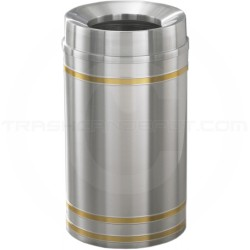 "Glaro F2034SA Capri WasteMaster Funnel Top Trash Can - 33 Gallon Capacity - 20"" Dia. x 36"" H - Satin Aluminum with Satin Brass Bands"