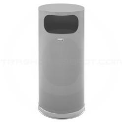 "Rubbermaid FGSO17SCGRGL Crowne Collection Waste Receptacle - 15 Gallon Capacity - 15"" Dia. x 33 1/2"" H - Textured Gray Body with Chrome Accents"