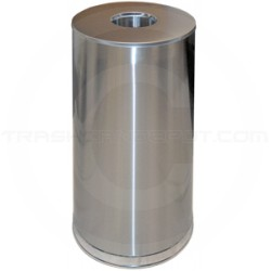 "Imprezza FOT15SSS Flat Open Top Waste Can - 15 Gallon Capacity - 15"" Dia. x 28"" H - Stainless Steel Body with Chrome Trim"