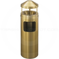 "Glaro H1203BE Atlantis Wastemaster Canopy Top Waste Can with Sand Tray - 6 Gallon Capacity - 12"" Dia. x 39"" H - Satin Brass"
