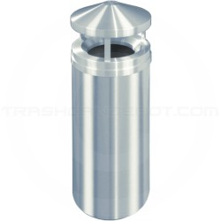 "Glaro H1501SA New Yorker WasteMaster Canopy Top Waste Can - 16 Gallon Capacity - 15"" Dia. x 39"" H - Satin Aluminum"