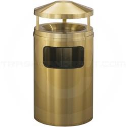 "Glaro H2003BE Atlantis Canopy Top Trash Can with Sand Urn - 17 Gallon Capacity - 20"" Dia. x 42"" H - Satin Brass"
