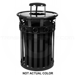 """Witt Industries M3600-R-RC-SLV Oakley Ring Band Slatted Metal Waste Receptacle with Rain Cap Lid - 40 Gallon Capacity - 28"""" Dia. x 44 1/4"""" H - Silver in Color"""
