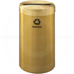 "Glaro P1542BE RecyclePro Single Unit Recycling Bin with Slotted Hole - 23 Gallon Capacity - 15"" Dia. x 30"" H - Satin Brass"
