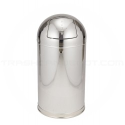 "Rubbermaid R1530MC Metallic Designer Line Bullet Trash Can - 12 Gallon Capacity - 15"" Dia. x 30"" H - Mirror Chrome"