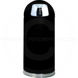 "Rubbermaid / United Receptacle R1536E Econo Line Bullet Trash Can - 15 Gallon Capacity - 15"" Dia. x 36"" H - Black in Color"