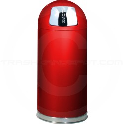 """Rubbermaid / United Receptacle R1536E Econo Line Bullet Trash Can - 15 Gallon Capacity - 15"""" Dia. x 36"""" H - Red in Color"""