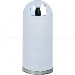 "Rubbermaid / United Receptacle R1536E Econo Line Bullet Trash Can - 15 Gallon Capacity - 15"" Dia. x 36"" H - White in Color"