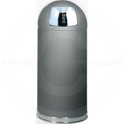 "Rubbermaid R1536SCGR Crowne Collection Bullet Trash Can - 15 Gallon Capacity - 15"" Dia. x 36"" H - Gray Textured Body with Satin Chrome Accents"